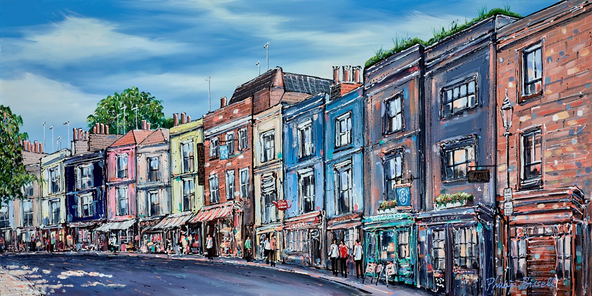 Portobello Road, Notting Hill by phillip bissell -  sized 39x20 inches. Available from Whitewall Galleries
